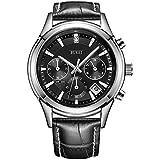 BUREI Men's Chronograph Sports Watch with Black Dial Date Calendar Genuine Leather