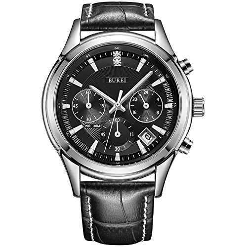BUREI Men's Elegant Chronograph Watch with Date Display Business Luxury Sport Black Quartz Analog Leather Watch for Men