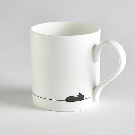 Saco de dormir de gato taza, taza de porcelana con simples de cara de gato