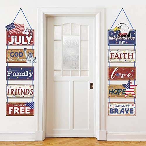 Americana 4th of July Party Banner Patriotic Party Decoration Independence Day Party Porch Sign Fourth of July Party Supplies Red White Blue Hanging Sign Decoration]()