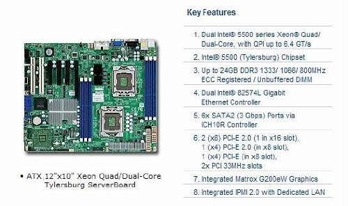 - Supermicro X8DTL-IF-B Dual LGA1366 Xeon/Intel 5500/ DDR3/ V&2GbE/ ATX Server Motherboard