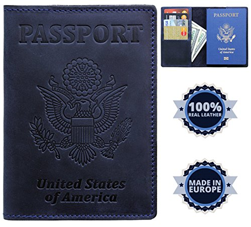 US Passport Holder Cover Travel Wallet Case - Genuine Leather ID Organizer - Card Slots - for Men Women (Navy - Cards Gift Pa Store State