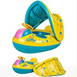 Baby Swimming Float Inflatable Olycism Pool Boat Sunshade Seat with Sun Canopy Adjustable removable for kids children Floating Toys sun protection