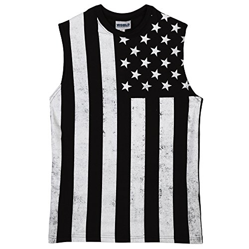 Distressed Black and White USA Flag Mens Muscle Tank - Black (Small)