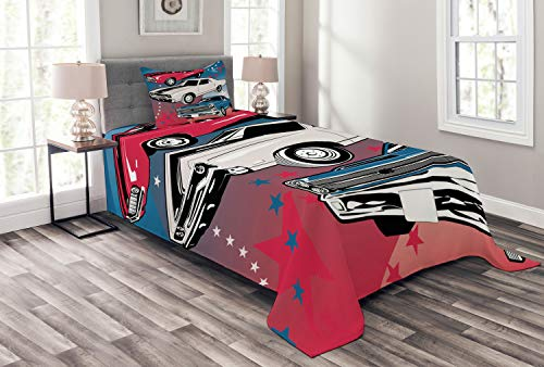 Lunarable Cars Bedspread, Pop Art Group of Nostalgic American Muscle Cars with Stars Antique Print, Decorative Quilted 2 Piece Coverlet Set with Pillow Sham, Twin Size, Beige Blue