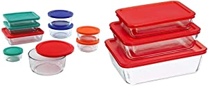 Pyrex Simply Store Meal Prep Glass Food Storage Containers (18-Piece Set, BPA Free Lids, Oven Safe),Multicolored & Rectangular Food Storage, Red, (6 Pack)
