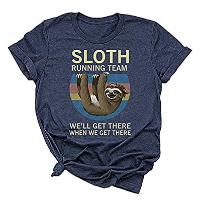 Beopjesk Women's Sloth Running Team T Shirt Short Sleeve I Hate People Graphic Tees Tops: Clothing
