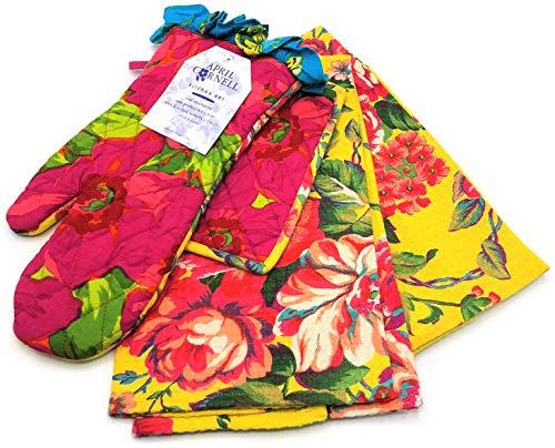 April Cornell Vibrant Fuschia & Yellow Floral Oven Mitt, Potholder, Two Towels Kitchen Set