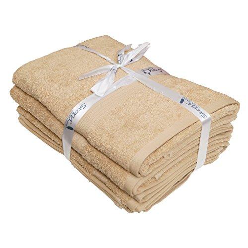 Story@Home Egyptian Ringspun Cotton Towels-14 Pcs Towel Set - 2 X Bath Towels | 2 X Hand Towels | 10 X Wash Cloths-BEIGE