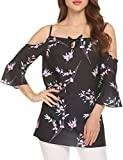 Sweetnight Womens Cold Shoulder 3/4 Sleeve Tops Floral Print Shirt Casual Blouse