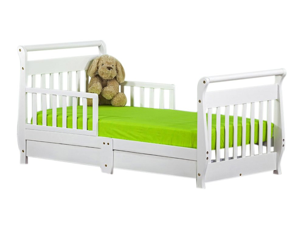 Dream On Me Toddler Bed With Storage Drawer White