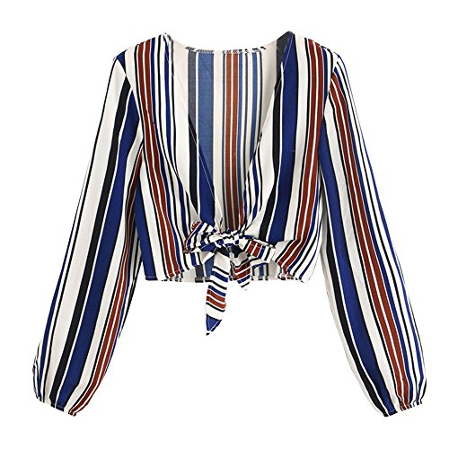 W-GRACE Women Striped Deep V Neck Shirt Tie Knot Front Crop Top Long Sleeves Cover up Blouse