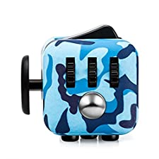 CPEI Mini Fidget Cube Stress Cube, Relieves Stress And Anxiety Toy Fidget Cube fidget spinner (Blue, Same Size)