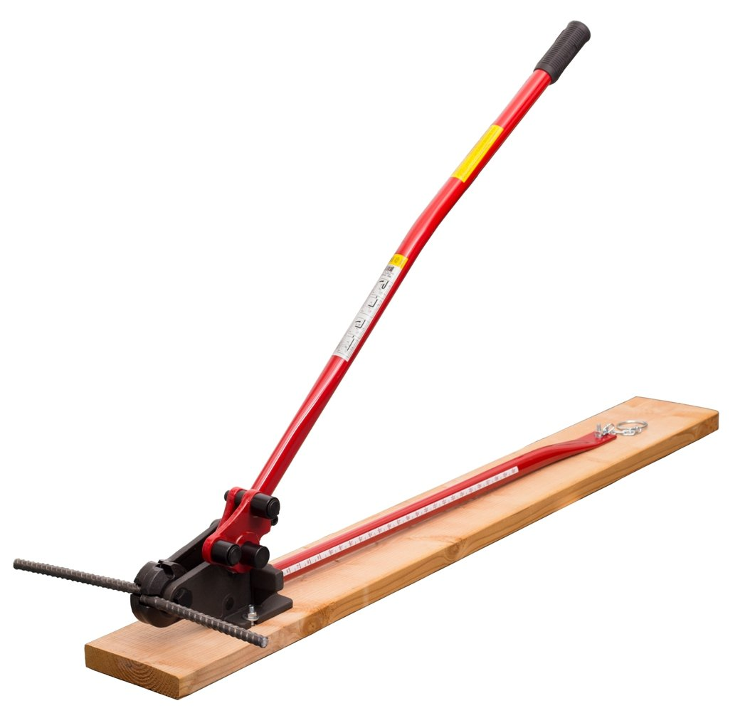 HIT Tools 22-RC16W-3 Rebar Cutter and Bender on Wooden Board, 5/8'', Red/Black