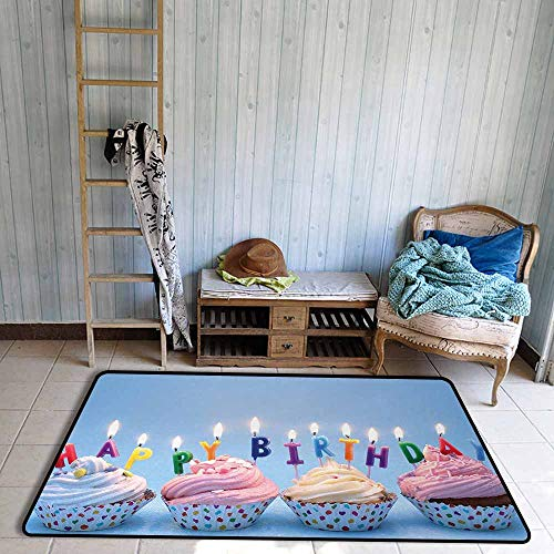Bathroom Rug Bath Rug Birthday Delicious Creamy Cupcakes with Letter Candles Sweet Celebration Theme Art Print Easy to Clean W67 xL79 Multicolor