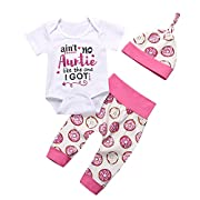 Baby Girls Clothes Miracles Romper Outfit Pants Set +Hat+Headband Summer Spring Winter (0-6 Months, White)