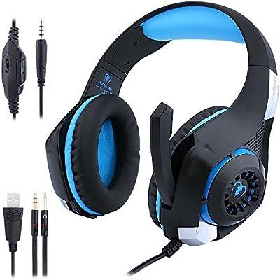 Auriculares para juegos de PC PS4, eForHome Auriculares para ...