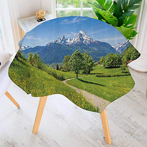 (Philiphome 100% Polyester Printed Table Cloth- Wildflowers in The Alps and Snow Capped Mountains Natial Park Bavaria Germany Ideal for Home, Restaurants, Cafés 50