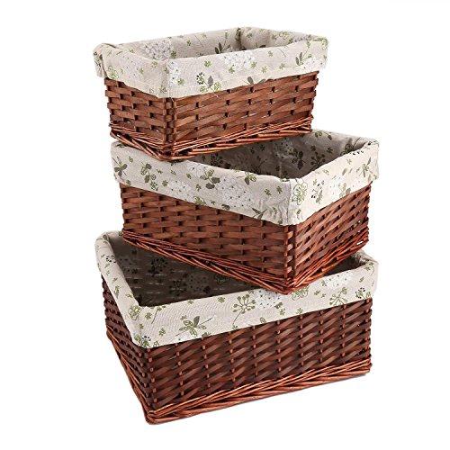 cosway Storage Box Handwoven Basket Bin Container Rectangular Organizer Set Stackable Storage Basket Wicker Strap Shelf Organizer Built (Woven Basket Set - 3 Piece) (BR)