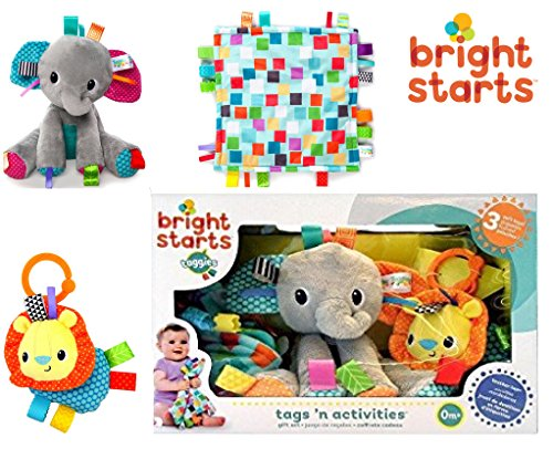 Bright Starts - TAGS'N ACTIVITIES GIFT SET - Amazing Collection of Comforting Toys that Baby Will Cherish.