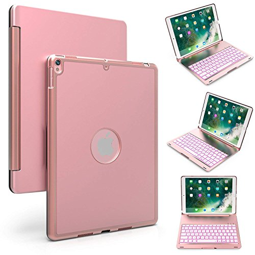 iPad Pro 10.5 Keyboard Case, Genjia Slim Auto Sleep-Wake Clamshell Hard Smart Cover with Wireless Bluetooth Keyboard Built-in 7-Color Backlit for Apple 2017 iPad Pro 10.5 Inch (Rose Gold) by Genjia