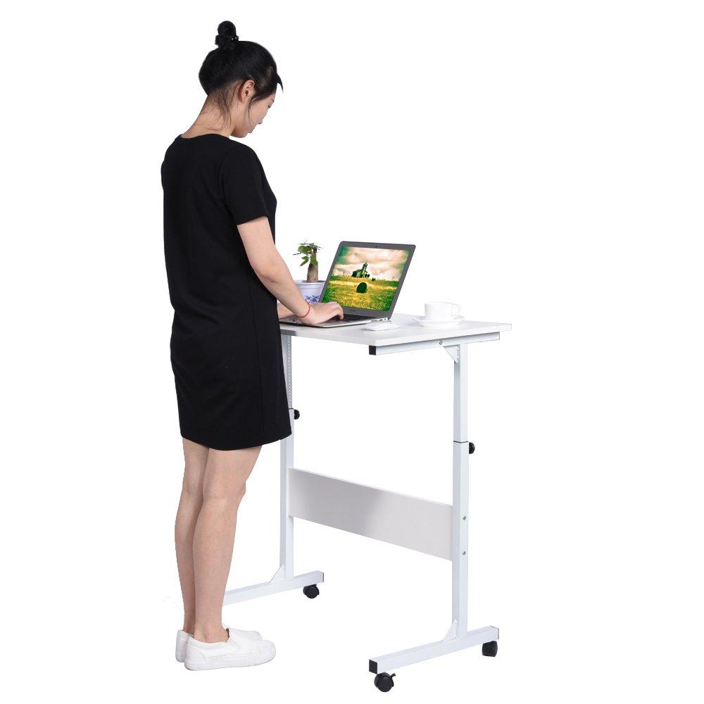 Yosoo Computer Desk Laptop Tavolo Vassoio, Tavolino per Computer Portatile/Notebook, ufficio computer Scaffale Ripiani Mobile workstation, regolabile, 4 Rotelle Freno (nero)