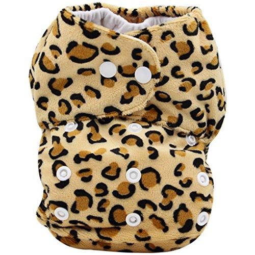 Wiederverwendbare Waschbare Größe Verstellbare Babywindeln Baby Jungen Mädchen Windelhose Baby-Tuch-Windel Cloth Diapers Weich und lecksicher Kurze Plüsche - Leopard Pattern