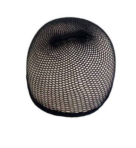 (Black Hair Wig Weaving Stretchable Net Mesh Fishnet Elastic Snood Cap-2pcs)