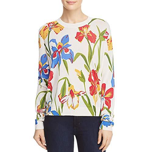 - Tory Burch Womens Kaelyn Silk Floral Print Blouse Ivory M