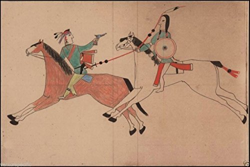 Cheyenne and Pawnee [Osage] Fight : c1906 : Ledger painting : Fine Giclee Print - Cheyenne Indian Print