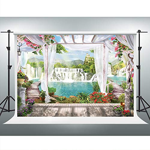 Price comparison product image Tropical Seaside Photography Backdrop Pergola Wood Floor Wedding Bridal Shower Background 7x5ft Party Event Photo Shoot Studio Props LSVV738