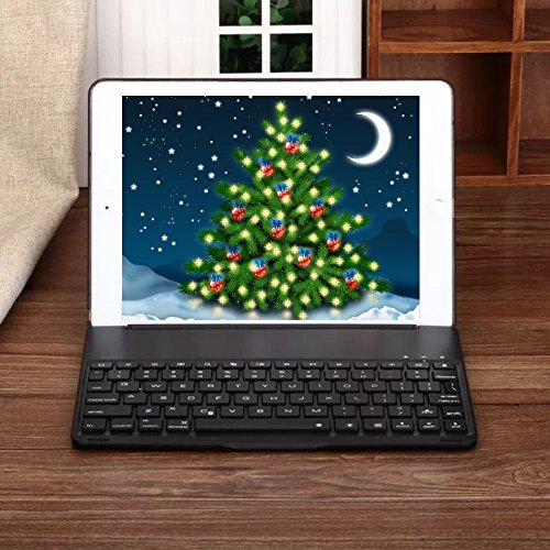 iPad Keyboard Case for 2017 New iPad 9.7 inch & iPad Air with 7 Colors LED Backlit iPad Keyboard with Bluetooth Protective Case Cover for iPad 5th Generation and iPad Air 1 by HotGo(Black) by HotGo (Image #5)'