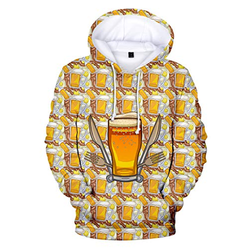 GREFER Beer Festival Personality Shirts - New 3D Printing Long Sleeve Hoodies - Loose Plus Size Sweatershirt Tops with Pokets Gold