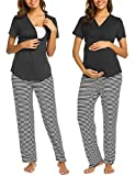 Ekouaer Striped Maternity PJS, Pregnant Short Sleeve Labor Delivery Pajamas Nursing Hospital Sleepwear Set (Black L)