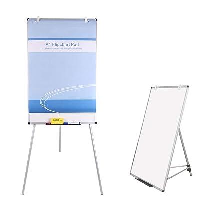 90 x 60 cm VIZ-PRO Pizarra blanca de caballete magn/ética