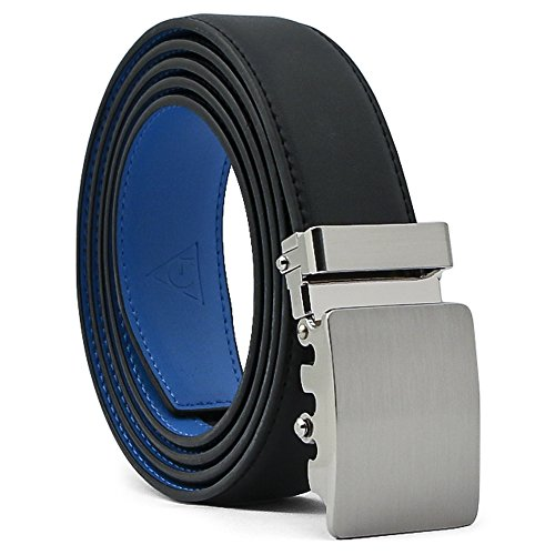AOG DESIGN Two-Tone Leather Ratchet Dress Belt with Solid Buckle - Magnetic Edition (Silver/Black/Blue) (Buckle Tone Silver Slide)
