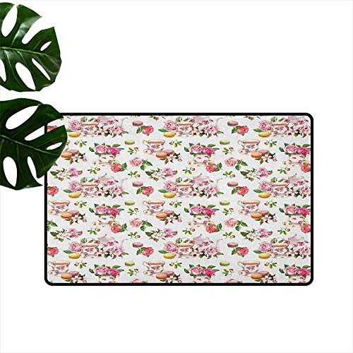 Vintage,Entrance Door Mat Vintage Antique Old Retro Tea Time Must Have Pots Cups Roses Flowers and Leaves 18