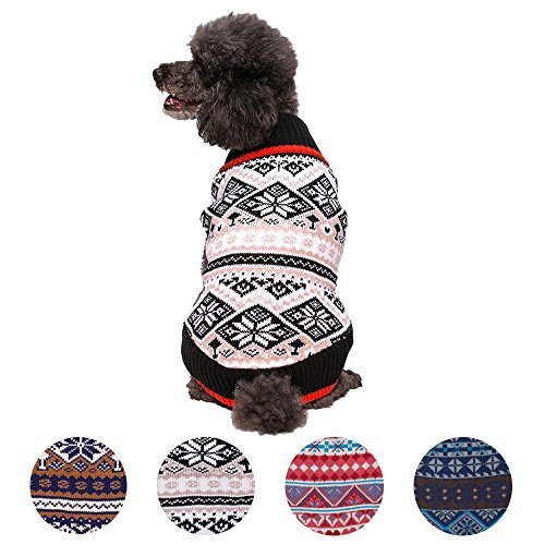 Blueberry Pet 4 Patterns Nordic Pattern Inspired Fair Isle Black and White Snowflakes Dog Sweater, Back Length 12