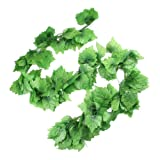 Home Decorative Artificial Grape Vine 7.5 Ft 12 Pcs Green
