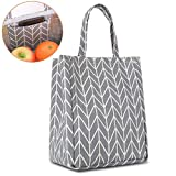 Buringer Insulated Lunch Bag with Inner Pocket Printed Canvas Fabric Cooler Tote Box Reusable Lunch Organizer Holder Container for Ladies Woman Man School Work Picnic (Large Gray Geometric Pattern)
