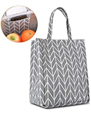 Buringer Insulated Lunch Bag with Inner Pocket Printed Canvas Fabric Reusable Cooler Tote Box for Ladies Woman Man School Work Picnic