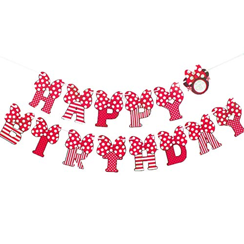 Girls Minnie Mouse Happy Birthday Party Banner Flags for Kid Disney Birthday Party Favors Decoration Red -