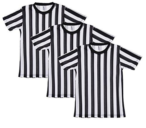 Mato & Hash Children's Referee Shirt Ref Costume Toddlers Kids Teens - 3PK Black/White CA2004K XL