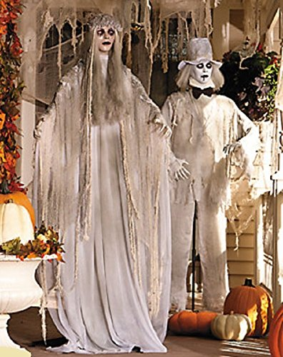 OT-TV 5-1/2 Ft Life Size 2-PC Dead Bride & Groom Ghosts in White w/ Red Flashing Eyes Standing Halloween Props -