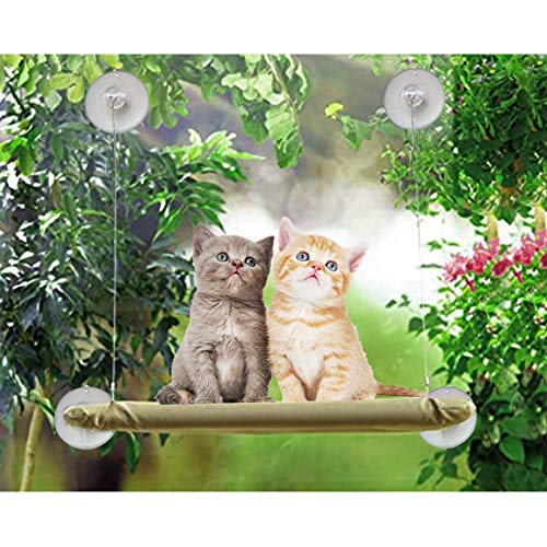 ZALALOVA Cat Window Perch, Cat Window Seat Bed Hammock Space Saving Design with 1Pc Cat Toys 1Pc Extra Suction Cup Cat Shelve All Around 360° Sunbath Holds Up to 50lbs for Any Cat Size 3