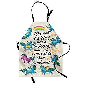 Ambesonne Cartoon Apron Mythical Unicorns With Stars And Rainbow Creature Kids Theme Print Unisex Kitchen Bib With Adjustable Neck For Cooking Gardening Adult Size Beige Teal