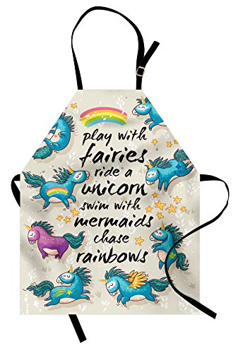 - Ambesonne Cartoon Apron, Mythical Unicorns with Stars and Rainbow Legendary Creature Kids Theme Print, Unisex Kitchen Bib Apron with Adjustable Neck for Cooking Baking Gardening, Beige Teal Blue