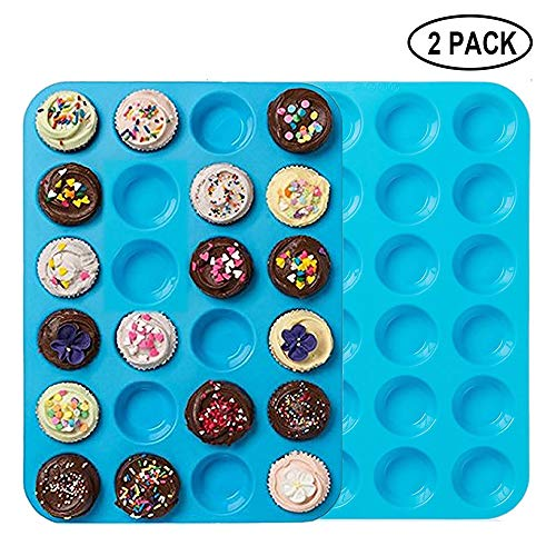 (Premium Silicone Mini Muffin & Cupcake Baking Pan Large Non Stick 24 Cup Cookies Molds Bakeware Tin Soap Tray Mould by Meiso (Set of 2) (Blue))
