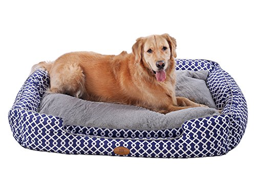 - [NEW] PLS Birdsong Trellis Bolster Large Dog Bed, Pet Bed, Cat Bed, Blue & Gray, Large, Removable Cover, Completely Washable, Dog beds for large dogs