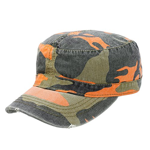 Camo Superior Garment Washed Cotton Distressed Visor Military Style Cap Hat